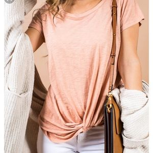 {Nordstrom BP} NWT Peach Front Knotted Tee